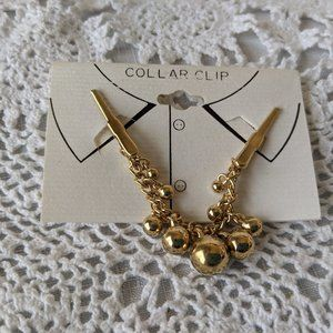 Ladies Gold Tone Sweater Dangle Collar Clip